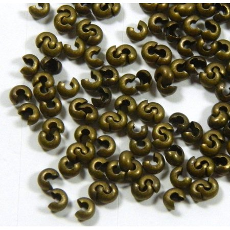 200 4mm Crimp Knot Covers Antiqued Brass/gold Plated Brass Findings