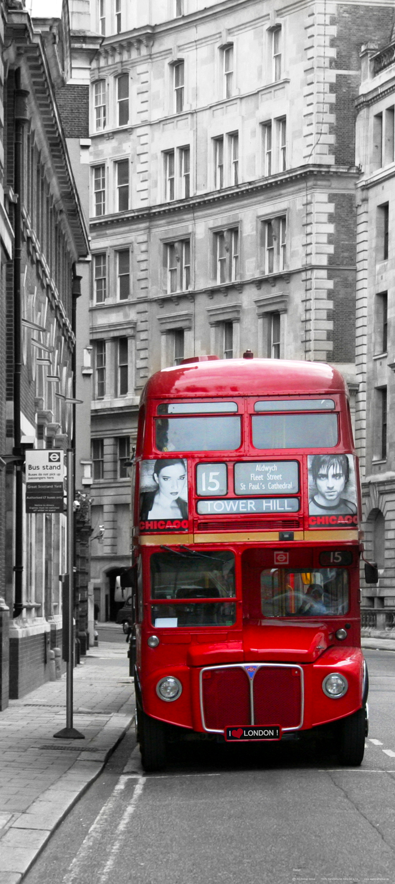 Red London Doubledecker Bus On Black And White Street Wall Mural Non