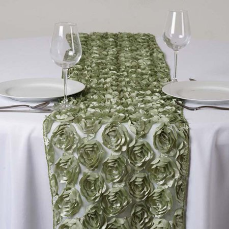 Efavormart COUTURE Rosettes on Lace Premium Table Runner For Weddings Birthday Parties Banquets Decor Fit Rectangle and Round Table