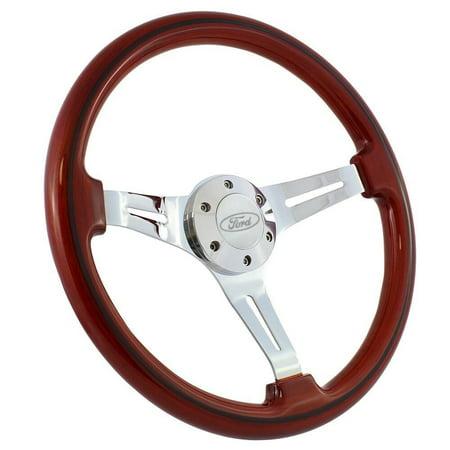 "1970 - 77 Ford Truck F100 F150 F250 15"" Wood & Chrome Classic Steering Wheel Kit"""
