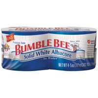 (4 Cans) BUMBLE BEE Solid White Albacore Tuna in Water, 5 Ounce Cans, Ready to Eat Tuna Fish, High Protein Food and Snacks