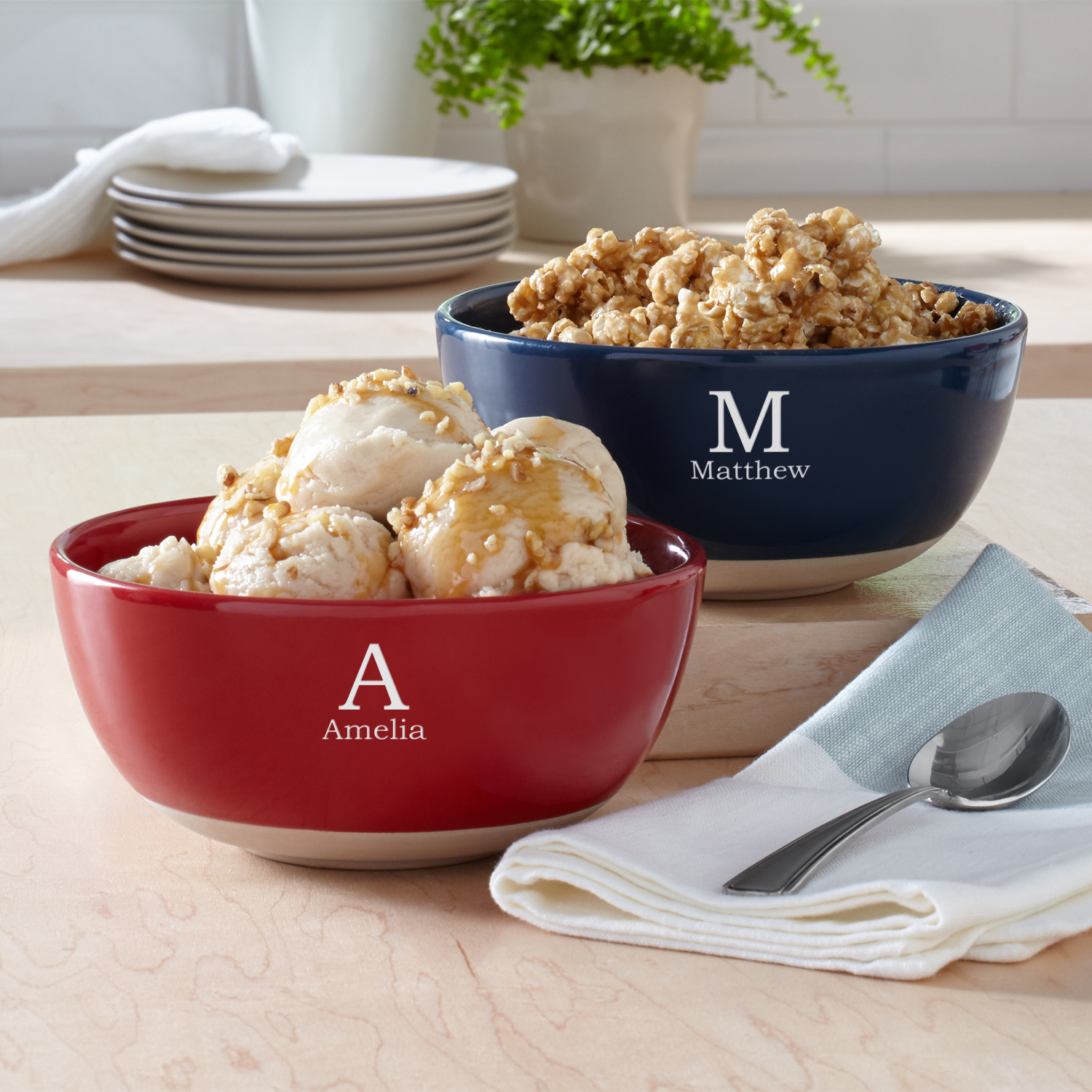 Personalized Initially Yours Ceramic Bowl - Blue