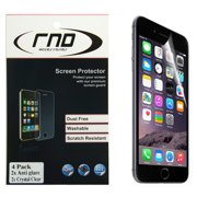 RND 4 Screen Protectors for Apple iPhone 6 Plus and 6S Plus [5.5 inch) [Anti-Fingerprint/TwoAnti-Glare Matte Finish and Two Crystal Clear- Gloss Finish.) with lint cleaning cloths