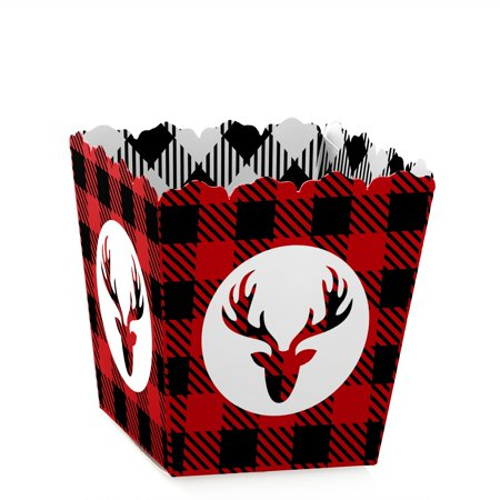 Prancing Plaid - Party Mini Favor Boxes - Holiday Buffalo Plaid Party Treat Candy Boxes - Set of