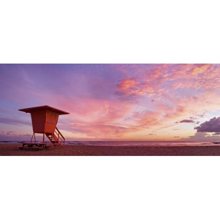 - Hawaii Kauai Salt Ponds Beach Lifeguard Tower At Sunset Canvas Art - M Swiet Productions  Design Pics (44 x 19)