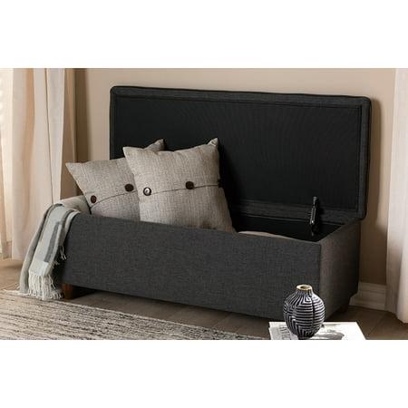 Baxton Studio Marlisa Mid-Century Modern Walnut Finished Wood and Dark Grey Fabric Upholstered Button Tufted Storage Ottoman (Baxton Studio Stella Crystal Tufted Modern Bench)