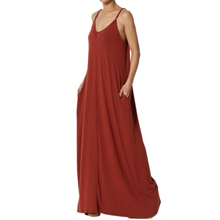 193b25ef6948a TheMogan Women's V-Neck Draped Jersey Casual Beach Cami Long Maxi Dress W  Pocket