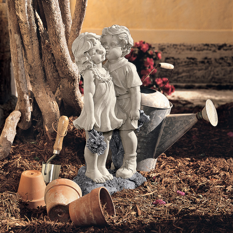 Young Sweethearts: Kissing Children Garden Statue by Design Toscano