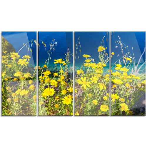 Design Art 'Wild Yellow Flowers Over Sea Coast' 4 Piece Photographic Print on Canvas Set