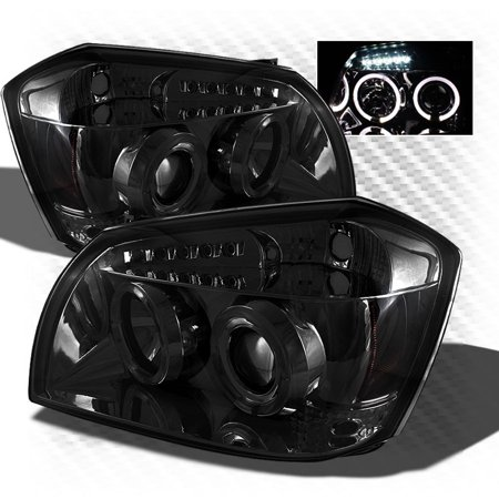 Smoked 2005-2007 Dodge Magnum Projector Dual Halo LED Headlights Smoke Head Lights Pair Left+Right 2006
