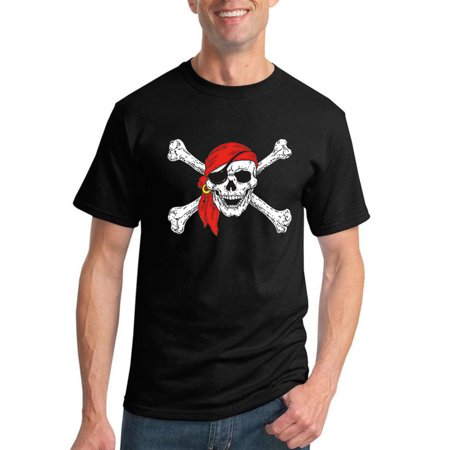 Jolly Rodger Pirate Skull and Crossbones | Mens Pop Culture Graphic T-Shirt, Black, Large