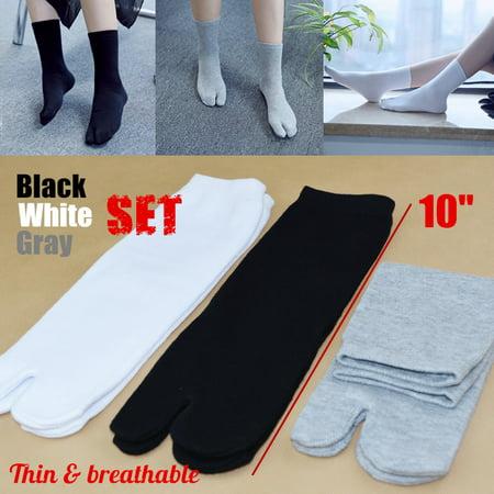 3Pairs Unisex Breathable Split Toe Socks Japanese Kimono Flip Flop Sandal Tabi Ninja Geta Socks (Black+White+Grey (Zemgear 360 Ninja Split Toe Running Series)