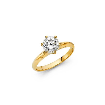 14K Solid Yellow Gold Classic Traditional Round Brilliant Cut Solitaire Cubic Zirconia Engagement Ring , Size 4.5