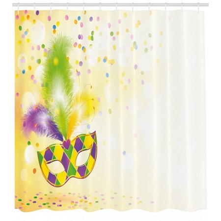 Mardi Gras Shower Curtain Festival Mask With Ornamental Feathers Colorful Dots Confetti Party Fabric Bathroom Set Hooks Yellow Green Purple