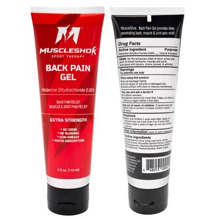 MuscleShok Back Pain Gel, Extra Strength Odorless Muscle & Joint Pain Relief, 4