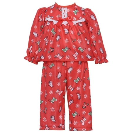 little girl 4 red christmas stocking lace pajama set - Walmart Christmas Pajamas