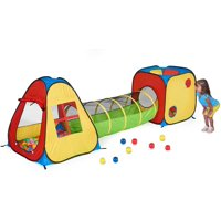 UTEX 3 in 1 Pop Up Play Tent with Tunnel, Ball Pit for Kids, Boys, Girls, Babies and Toddlers, Indoor/Outdoor Playhouse