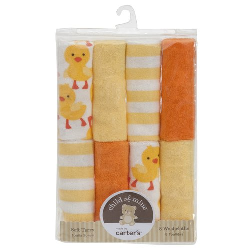 Child of Mine Yellow and Orange Duck Stripe Washcloths, Neutral, 8-Pack