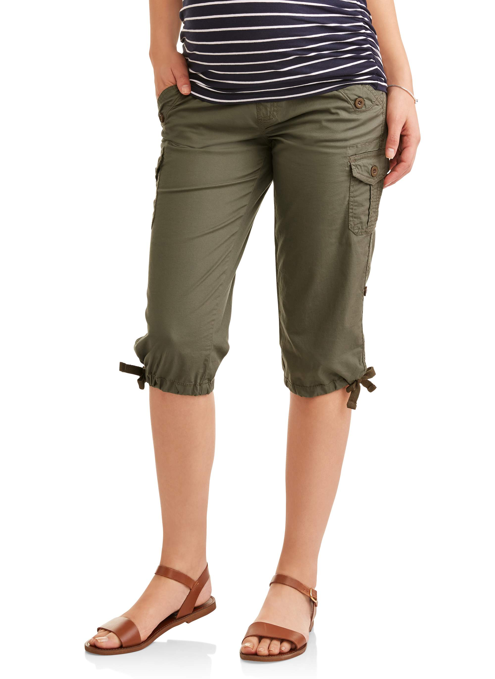 Maternity Underbelly Stretch Poplin Capri Pants - Available in Plus Sizes
