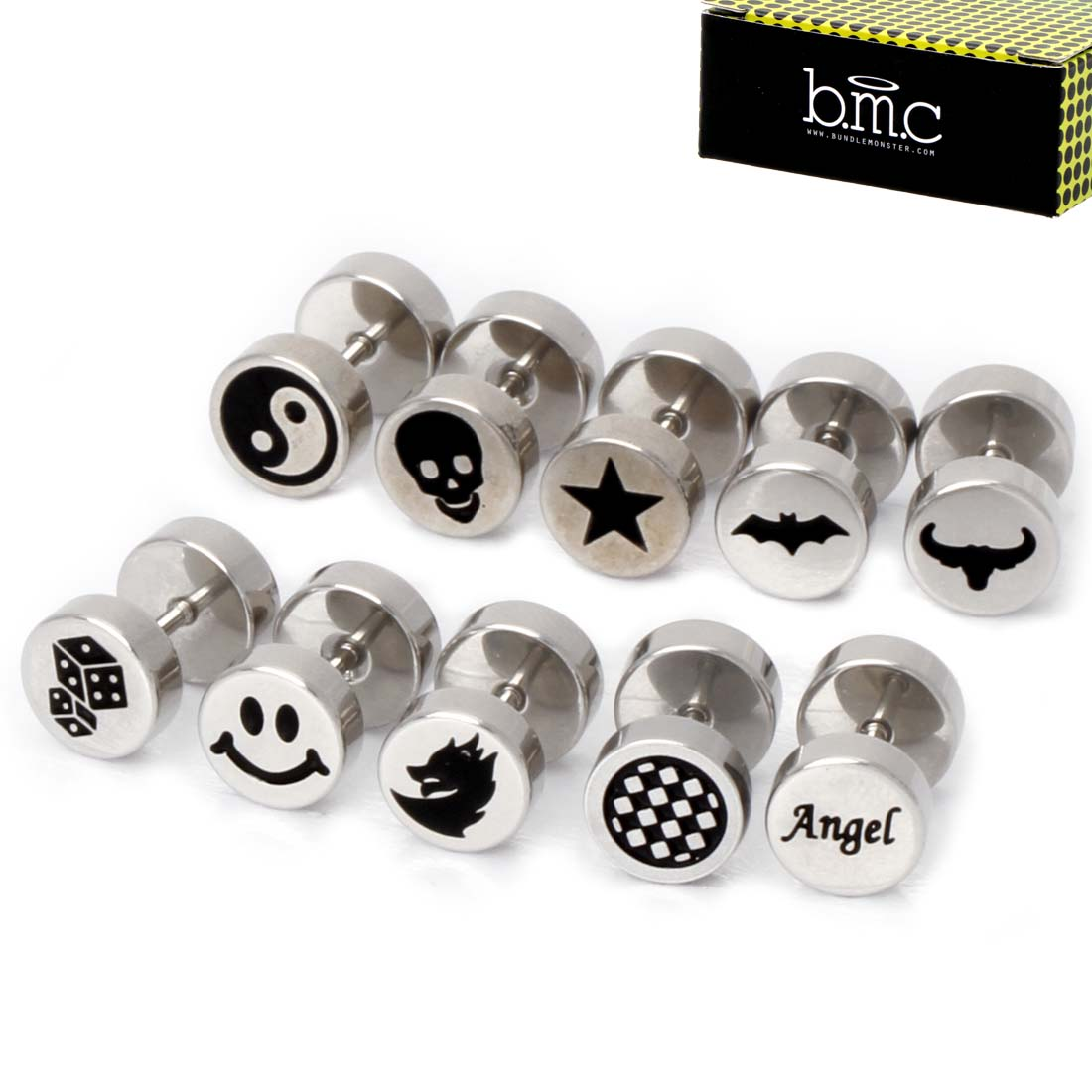 BMC 10 pc Mixed Color Design Stainless Steel Barbell Stud Earring Sets