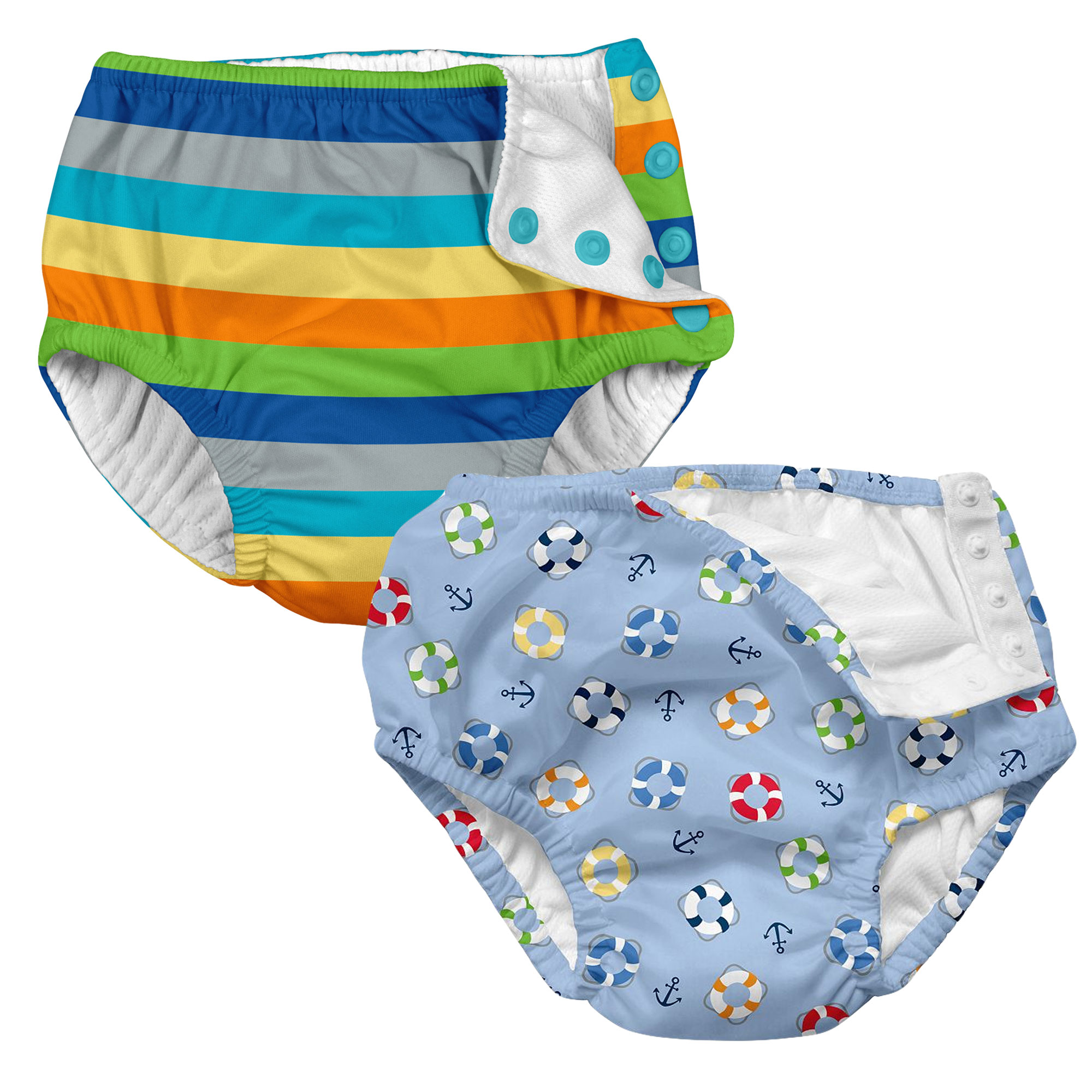 i play Baby and Toddler Snap Reusable Swim Diaper - Stripes and Nautical Lifesaver- 2 Pack