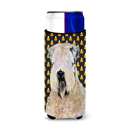 Wheaten Terrier Soft Coated Candy Corn Halloween Portrait Ultra Beverage Insulators for slim cans SS4281MUK](Halloween Names For Beverages)