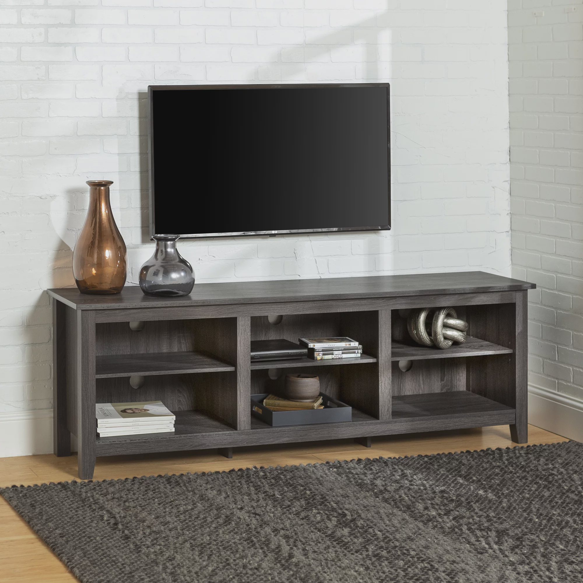 "Manor Park Wood TV Media Storage Stand for TV's up to 78"" - Charcoal"