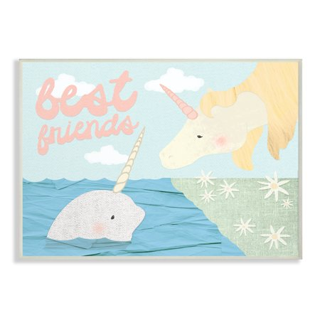 The Kids Room by Stupell Best Friends Narwhal and Unicorn Collage Oversized Wall Plaque Art, 12.5 x 0.5 x (Best Friend Collage Maker)