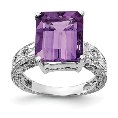 Solid 14k White Gold 12x10mm Emerald Cut Amethyst Purple February Gemstone Diamond Engagement Ring Size 6.5 (.068 cttw.)