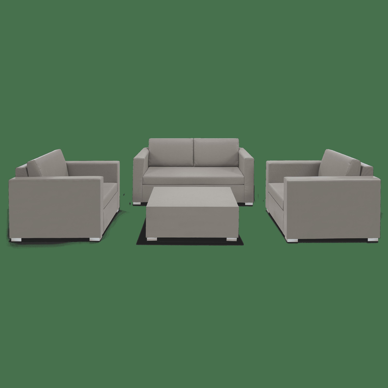 4-Piece Textilene Patio Conversation Set with Beige Cushions by Bestsign International Inc