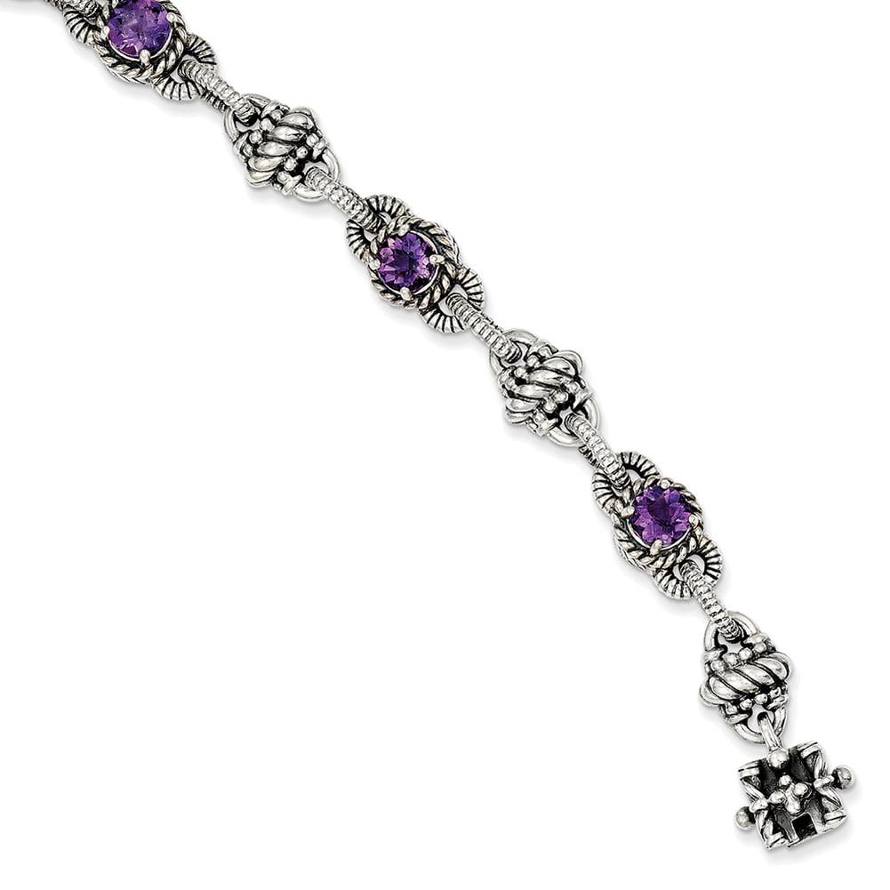 Lex & Lu Sterling Silver Amethyst Bracelet LAL45429 by