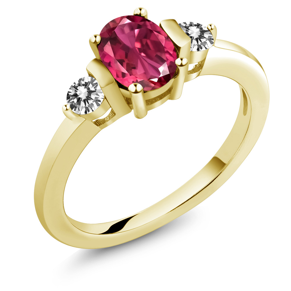 0.90 Ct Oval Pink Tourmaline AA White Diamond 18K Yellow Gold Plated Silver Ring by
