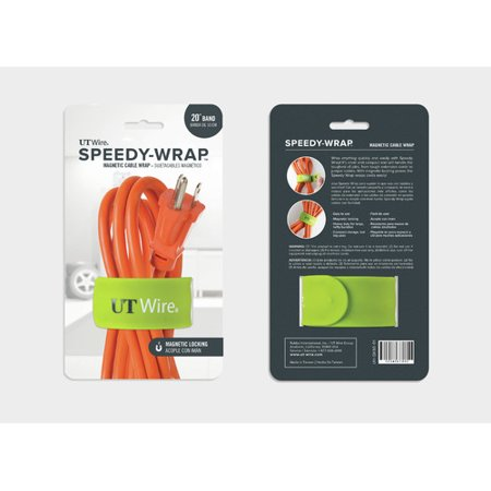 UT Wire 20″ Speedy-Wrap Magnetic Cable Wrap for Extension Cords, Green