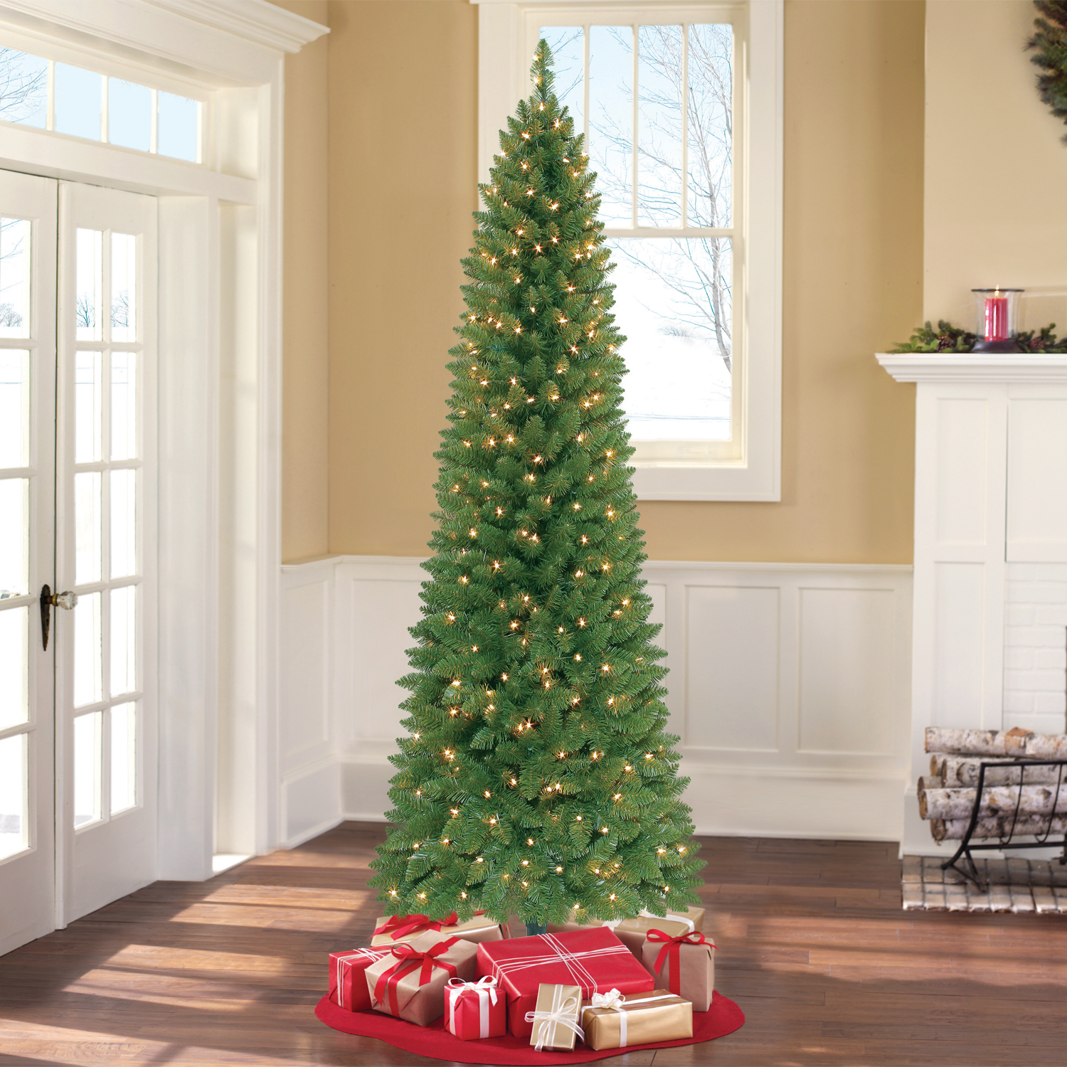 Holiday Time Pre-Lit 7\' Brinkley Pine Artificial Christmas Tree ...