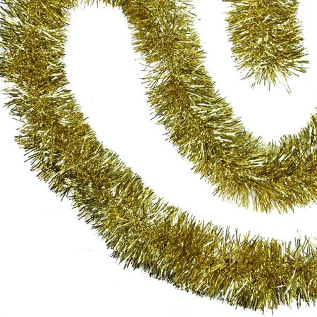 50' Shiny Gold Festive Christmas Foil Tinsel Garland - Unlit - 8 Ply
