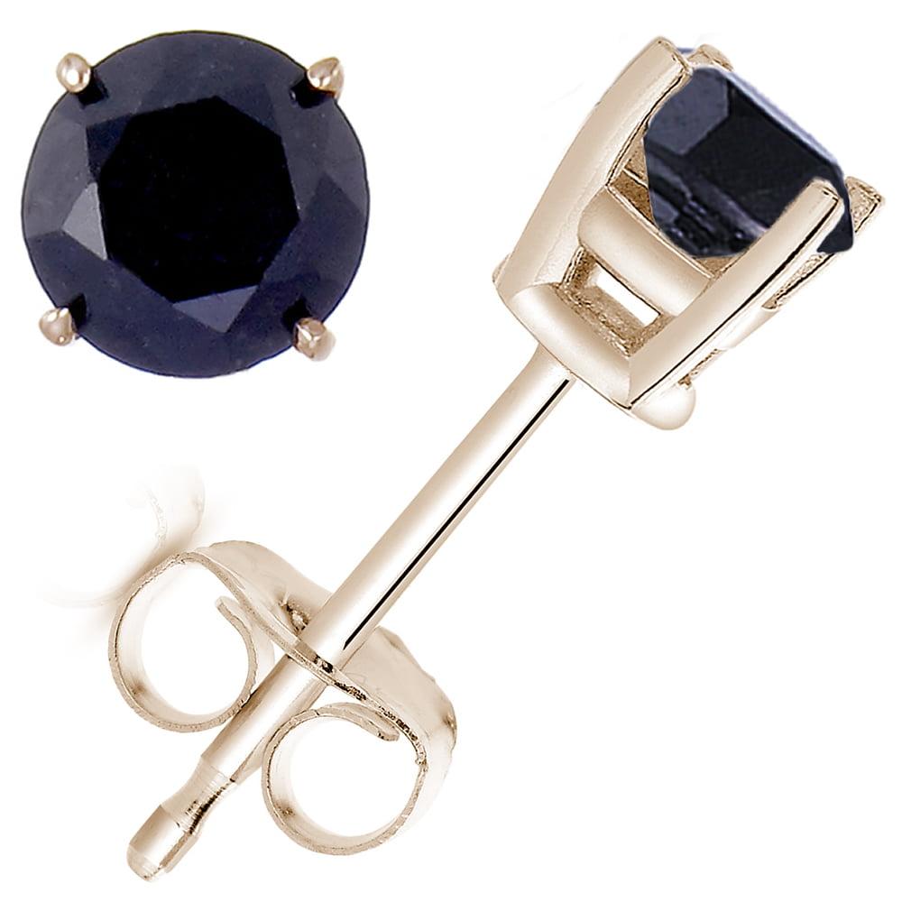 Vir Jewels 1 cttw Black Diamond Stud Earrings 14K Yellow Gold Round 4 Prong
