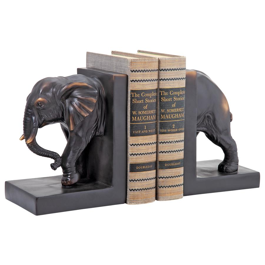 Design Toscano Elephant Sculptural Bookend Pair by Design Toscano