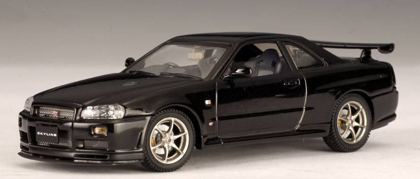 1999 Nissan Skyline GTR R34 V Spec II Black 1/43 Diecast Model Car By