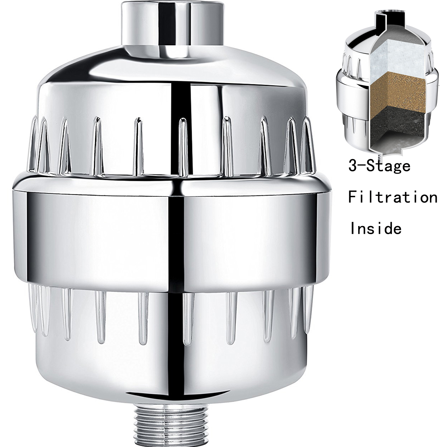 High Output Shower Head Filter Replacement Chrome Water Filter w  3-Stage Replacement Cartridge by