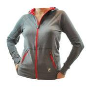 Fila Sport Womens High Performance Reflective Stretch Hoodie Jacket Media Pocket