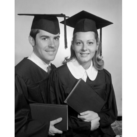 Female and male students wearing graduation gown holding diploma Canvas Art -  (18 x