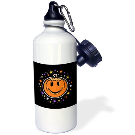 3dRose Fun Halloween Jack O Lantern Pumpkin with Purple Orange Stars, Sports Water Bottle, 21oz - Sports Halloween Pumpkins