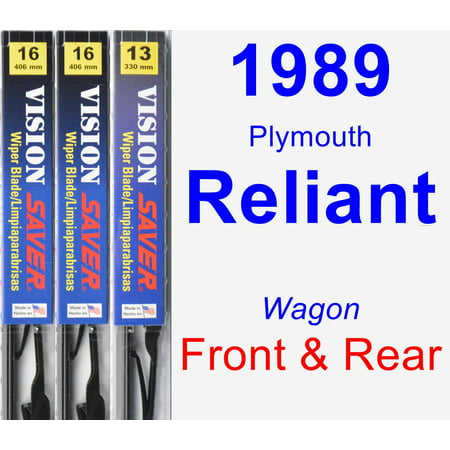 1989 Plymouth Reliant Coupe (1989 Plymouth Reliant Wiper Blade Set/Kit (Front & Rear) (3 Blades) - Vision)
