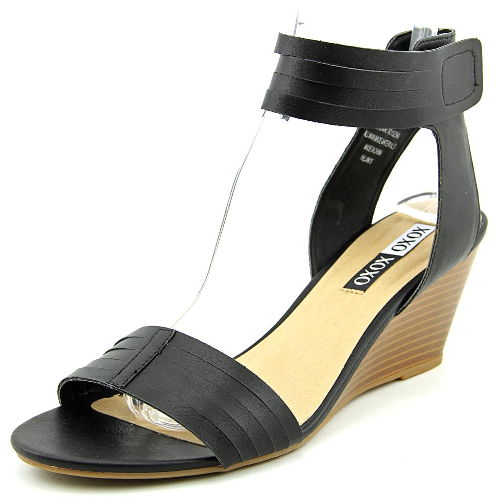 XOXO Shari Women  Open Toe Synthetic Black Wedge Sandal