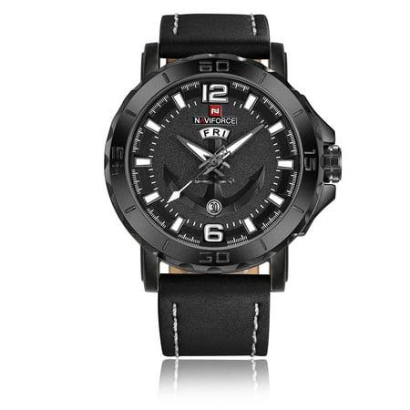 NAVIFORCE Cool Luminous Quartz Men Watch 3ATM Water-Proof Man Casual Wristwatch Genuine Leather Band Calendar & Week Masculino Relogio + Box