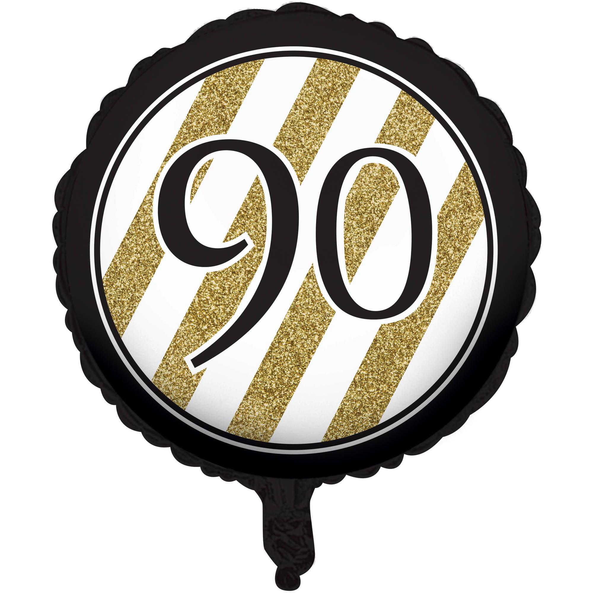 Black And Gold 90th Birthday Mylar Balloon Walmart