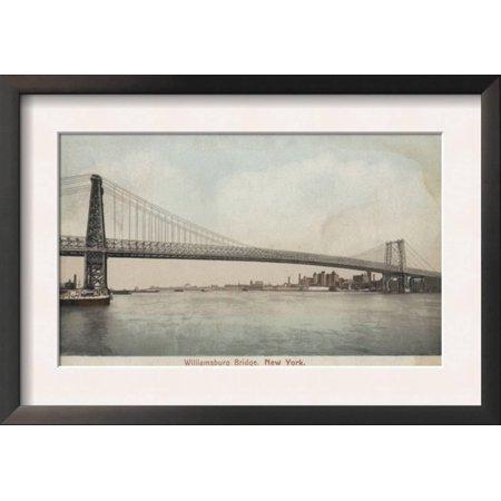 New York, NY - Williamsburg Bridge View Framed Art Print Wall Art  - (Ny Moving Wall Art)