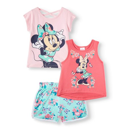 Minnie Mouse Tank Top, T-shirt and Shorts, 3pc Outfit Set (Toddler Girls) - Minnie Mouse Outfits For Adults