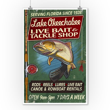 Lake Okeechobee, Florida - Tackle Shop Trout Vintage Sign - Lantern Press Poster (9x12 Art Print, Wall Decor Travel