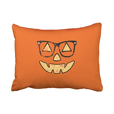 WinHome Shabby Chic Vintage Popular Happy Halloween Lantern With Glasses Pattern Polyester 20 x 30 Inch Rectangle Throw Pillow Covers With Hidden Zipper Home Sofa Cushion Decorative Pillowcases